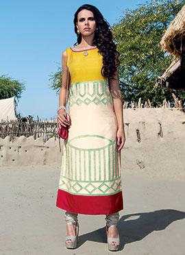 Yellow N Cream Pure Kora Silk Straight Suit