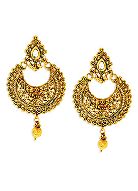 Yellow N Gold Colored Chand Bali Earrings