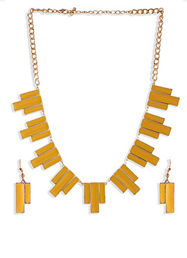 Yellow N Golden Necklace Set