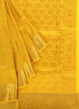 Yellow N Golden Pure Silk Pothys Saree