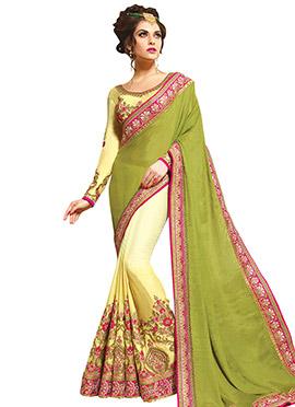 Yellow N Green Half N Half Saree