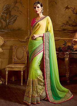 Yellow N Green Net Saree