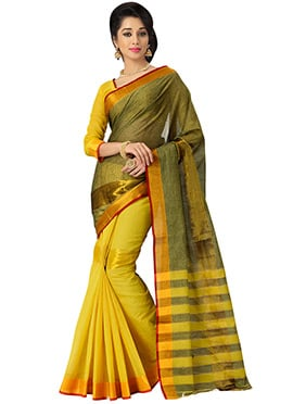 Yellow N Green silk Cotton Saree