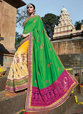 Yellow N Green Silk Half N Half Saree