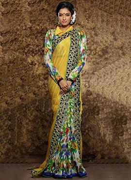 Yellow n Multicolored Half N Half Saree