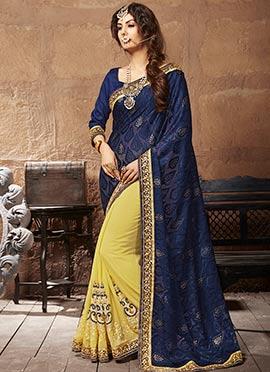 Yellow N Navy Blue Half N Half Saree