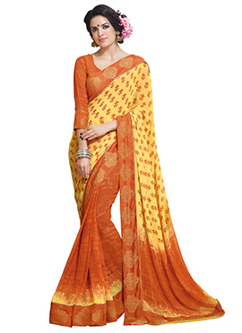 Yellow N Orange Georgette Printed Half N Half Sare