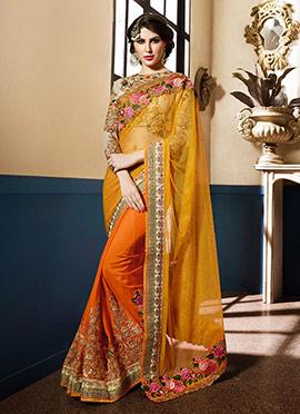 Yellow N Orange Half N Half Saree