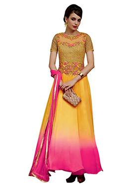 Yellow N Pink Embroidered Anarkali Suit