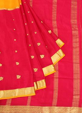 Yellow N Pink Pure Mysore Silk Saree