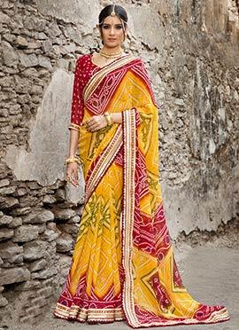 Yellow N Red Bandhini Printed Saree