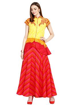 Yellow N Red Cotton Skirt Set