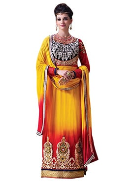 Yellow N Red Embroidered Straight Suit