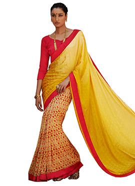 Yellow N Red Half N Half Saree