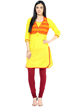 Yellow N Red Jacket Style Cotton Kurti