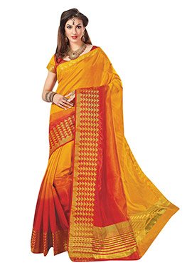 Yellow N Red Tussar Silk Border Saree