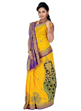 Yellow N Violet Pure Silk Floral Designed Saree