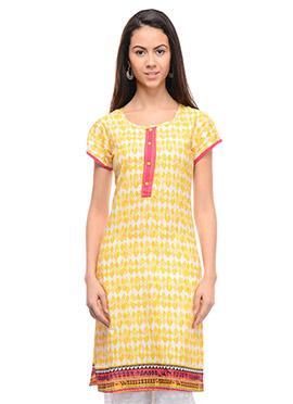 Yellow N White Cotton Printed Short Kurti