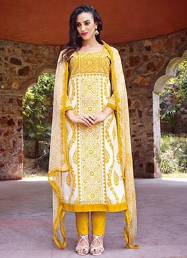 Yellow N White Cotton Straight Pant Suit