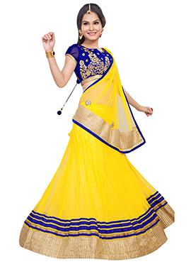 Yellow Net A Line Lehenga Choli