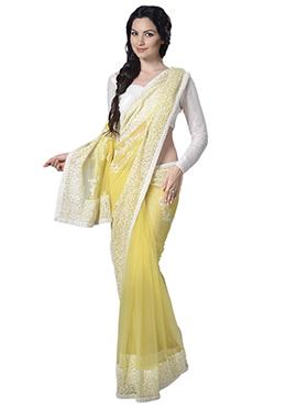 Yellow Net Border Saree