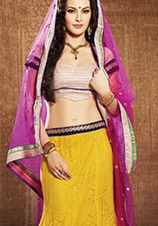 Yellow Net Fish Cut Lehenga Choli