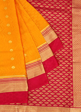Yellow Pure Mysore Silk Saree