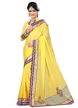 Yellow Pure Viscose Border Saree