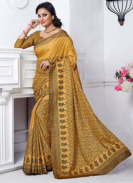 Yellow Shade Jacquard Khadi Silk Saree