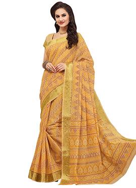 Yellow Silk Cotton Printed Saree