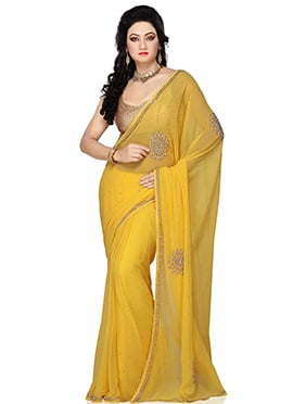 Yellow Stones Embellished Georgette Saree