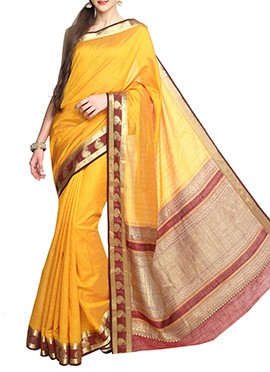 Yellow Tussar Silk Maroon Border Saree