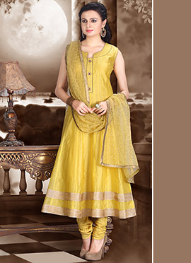 Yellowish Green Kalidar Suit