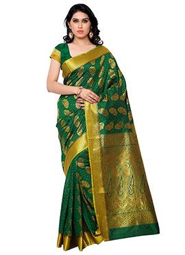 Zari Green Art Silk Saree