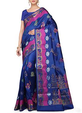 Zari N Resham Woven Blue Saree