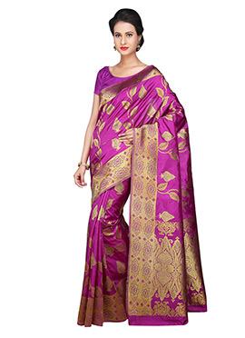 Zari Weaving Patterned Purple Saree