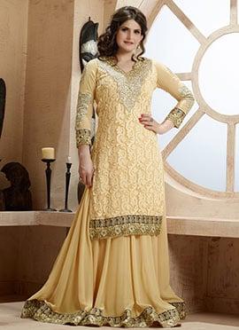 Zarine Khan Light Beige Palazzo Suit