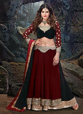 Zarine Khan Maroon N Black A Line Lehenga Choli