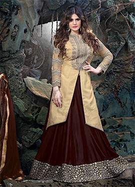 Zarine Khan Maroonish Brown Long Choli Lehenga