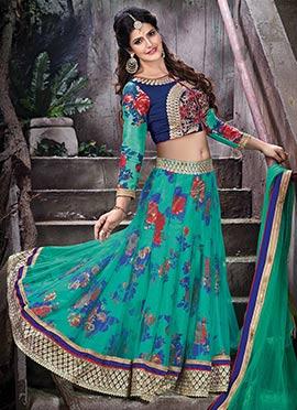 Zarine Khan Turquoise Green A Line Lehenga