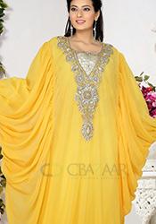 Zesty Yellow Georgette Farasha Kaftan