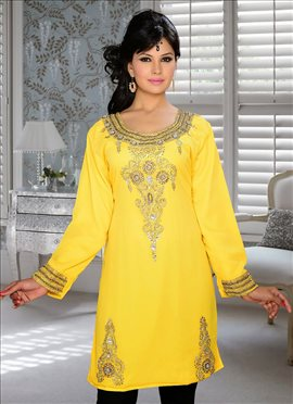 Zesty Yellow Georgette Kurti