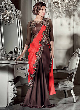 Brown Priyanka Chopra Saree Gown