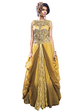 Mustard Net N Brocade Draped Gown