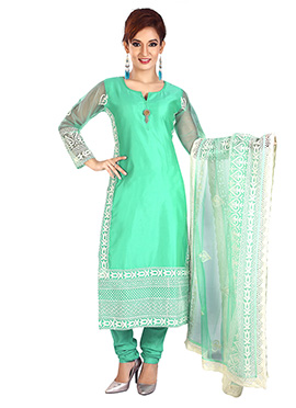 Turquoise Chanderi Silk Churidar Suit