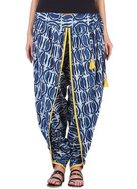 9rasa Blue Printed Dhoti Pant