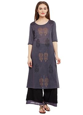 9rasa Mauvish Grey Cotton Palazzo Suit