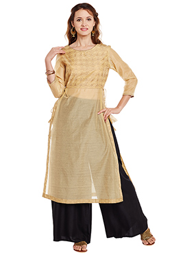 9Rasa Beige Chanderi Cotton Long Kurti