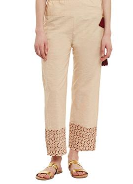 9rasa Beige Mangalgiri Cotton Straight Pant