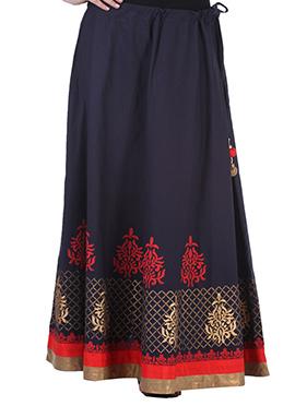 9rasa Black Blended Cotton Block Printed Skirt